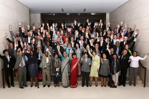 UHC 2030 Consultation Meeting with hands up!