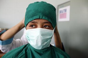 health worker with face mask
